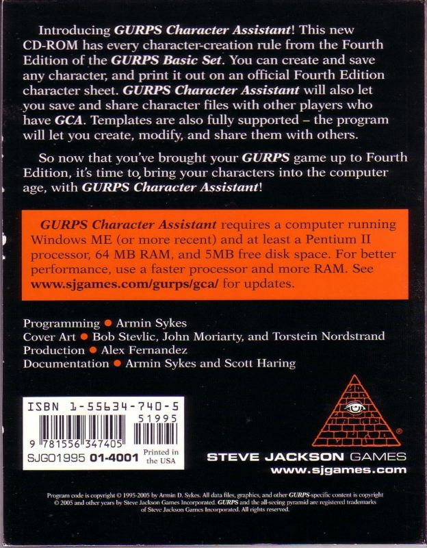 GURPS Character Assistant (Back)