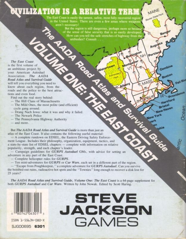 The AADA Road Atlas and Survival Guide, Volume One: The East Coast (Back)