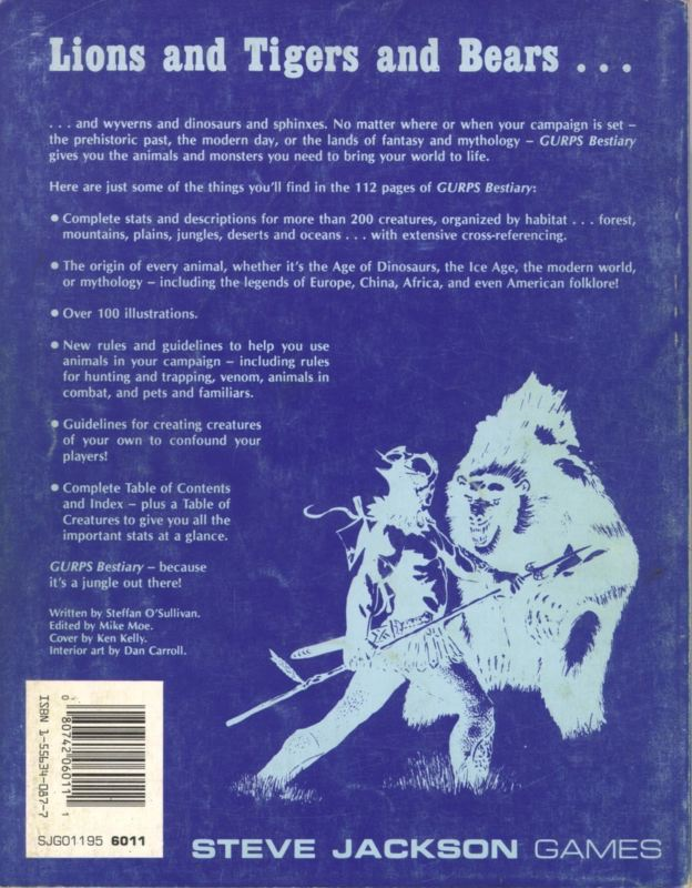 GURPS Bestiary, First Edition (Back)