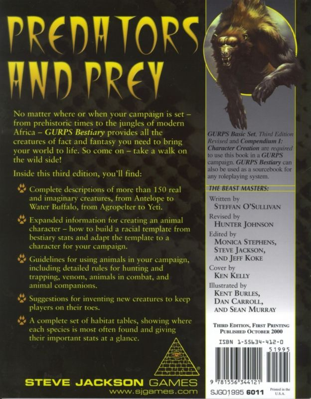 GURPS Bestiary, Third Edition (Back)