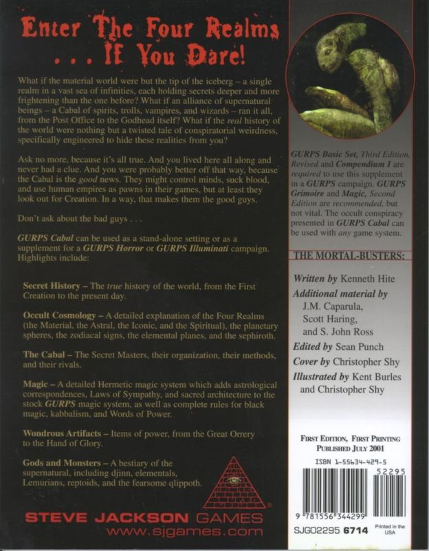 GURPS Cabal (Back)