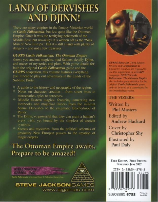 GURPS Castle Falkenstein: The Ottoman Empire (Back)