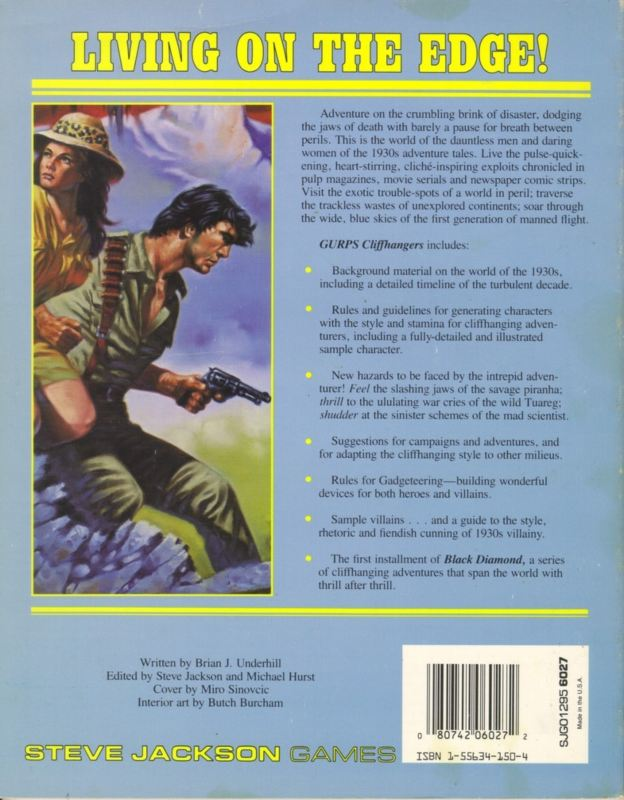 GURPS Cliffhangers, First Edition (Back)