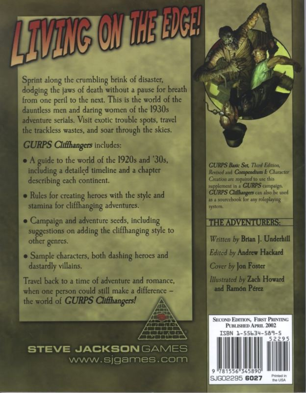GURPS Cliffhangers, Second Edition (Back)