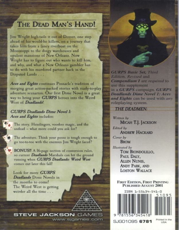 GURPS Deadlands Dime Novel 1 – Aces and Eights (Back)