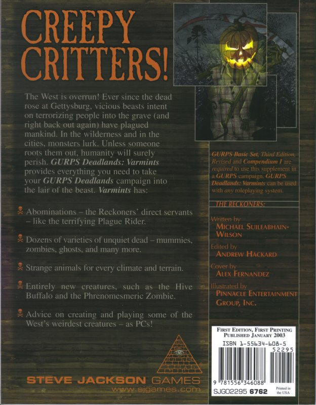 GURPS Deadlands: Varmints (Back)