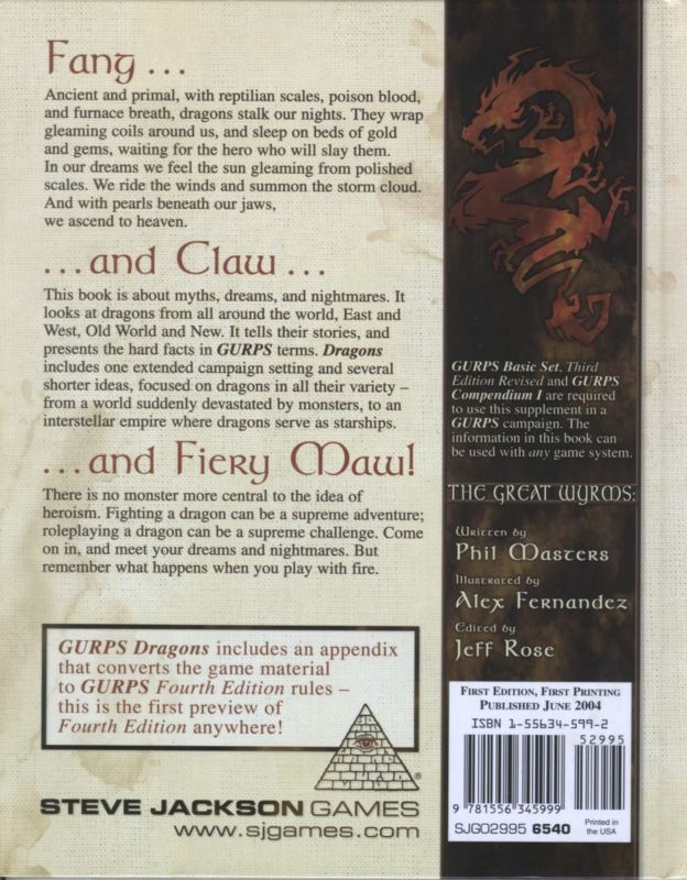 GURPS Dragons (Back)