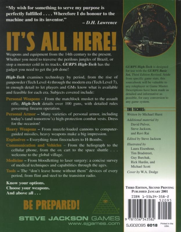 GURPS High-Tech, Third Edition (Back)