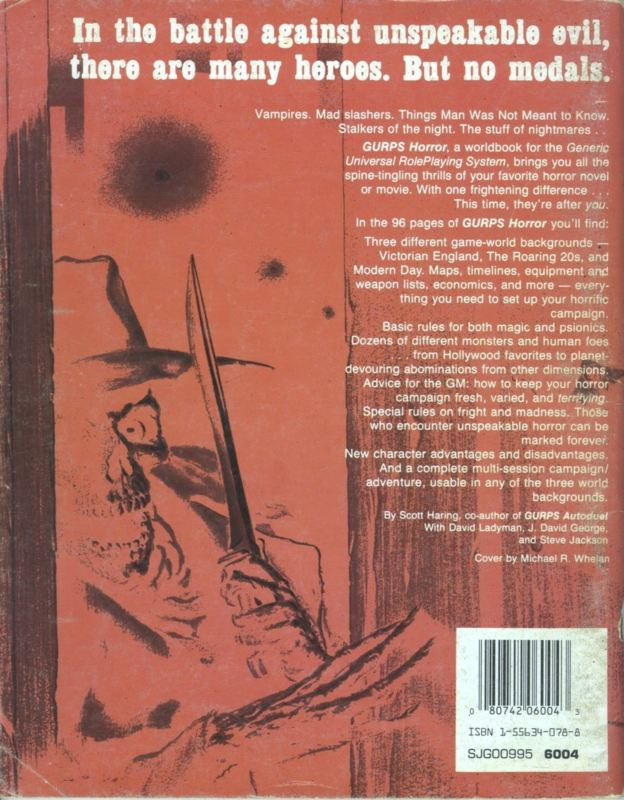 GURPS Horror, First Edition (Back)