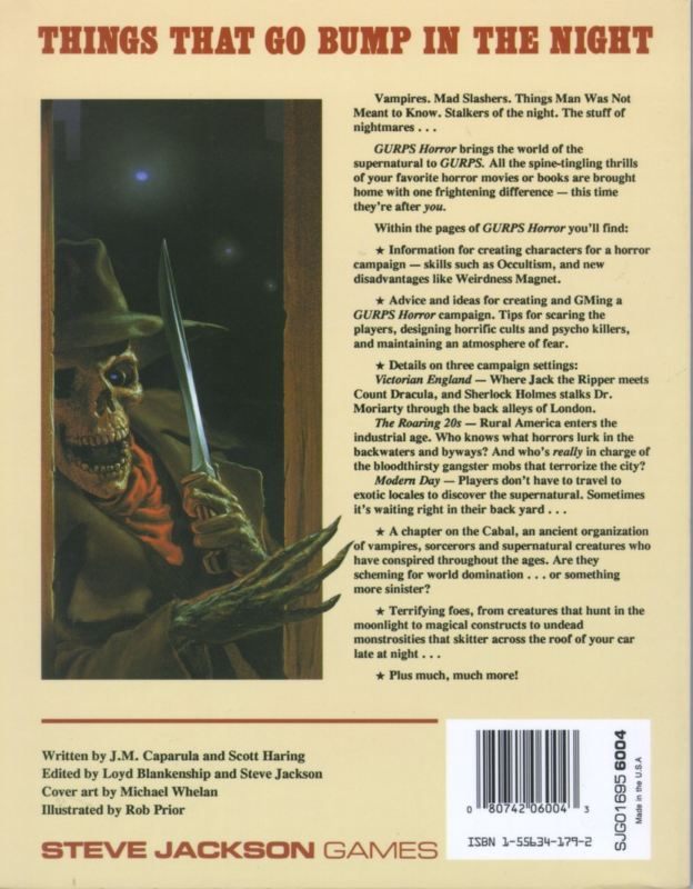 GURPS Horror, Second Edition (Back)