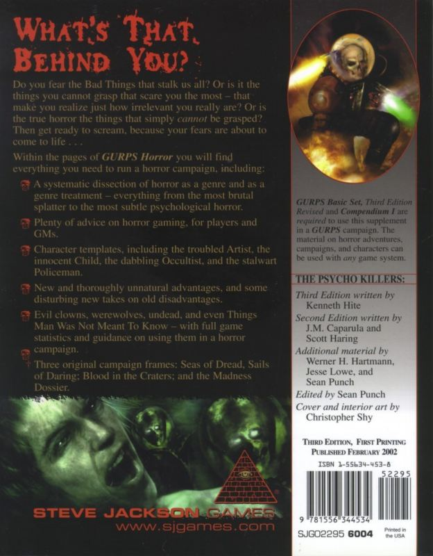 GURPS Horror, Third Edition (Back)