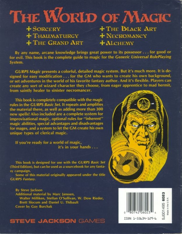 GURPS Magic, First Edition (Back)