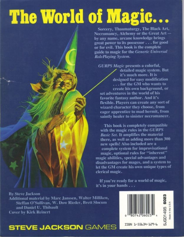 GURPS Magic, Second Edition (Back)