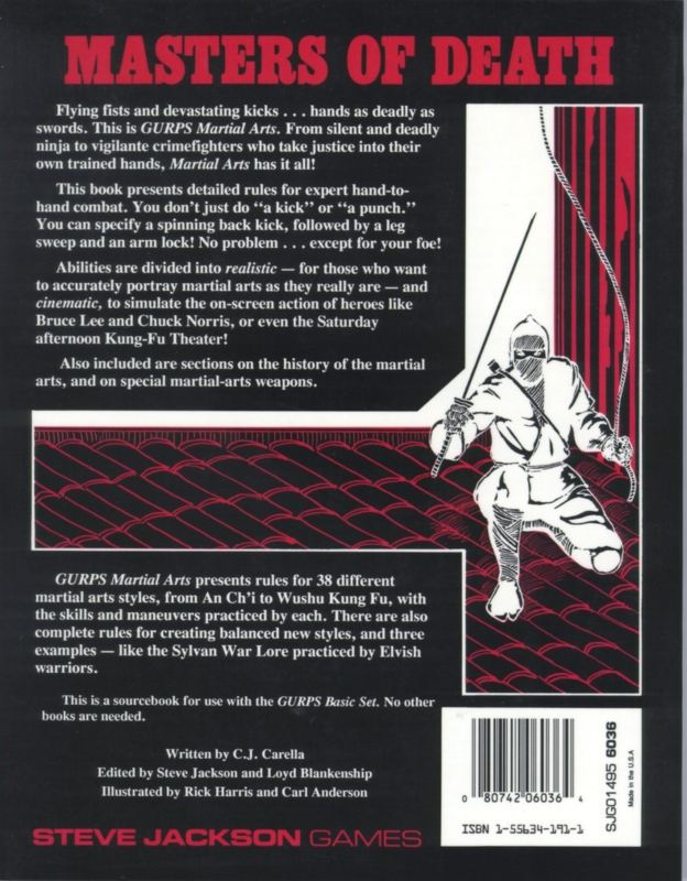 GURPS Martial Arts, First Edition (Back)