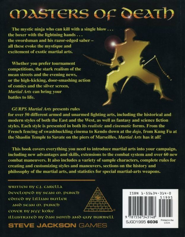 GURPS Martial Arts, Second Edition (Back)