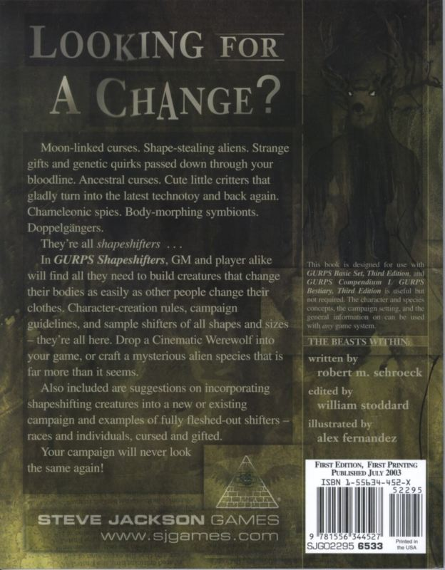 GURPS Shapeshifters (Back)