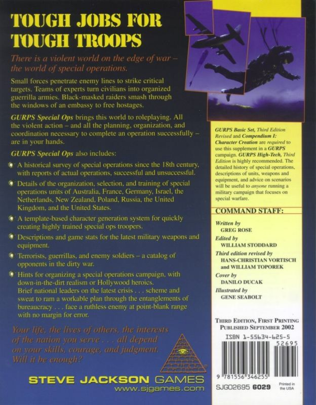 GURPS Special Ops, Third Edition (Back)