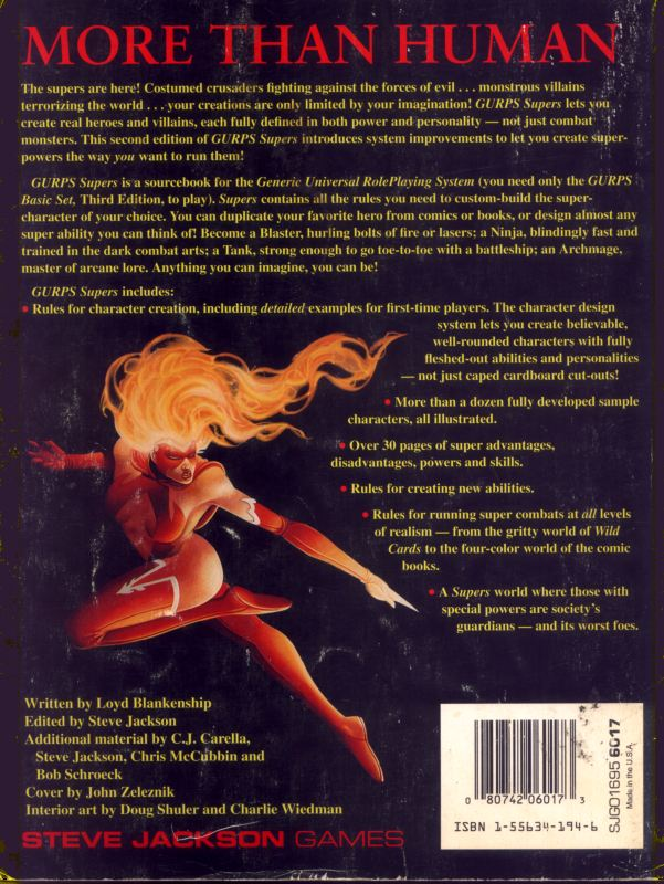 GURPS Supers, Second Edition (Back)