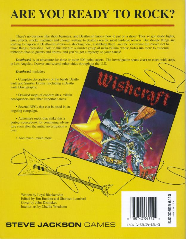 GURPS Supers Deathwish (Back)