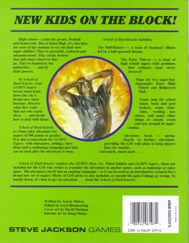 GURPS Supers School of Hard Knocks (Back)