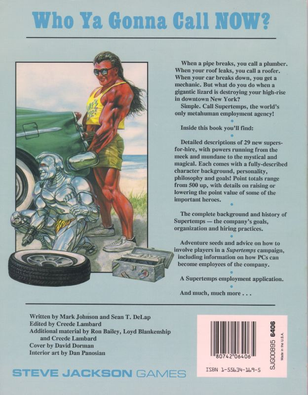 GURPS Supertemps (Back)