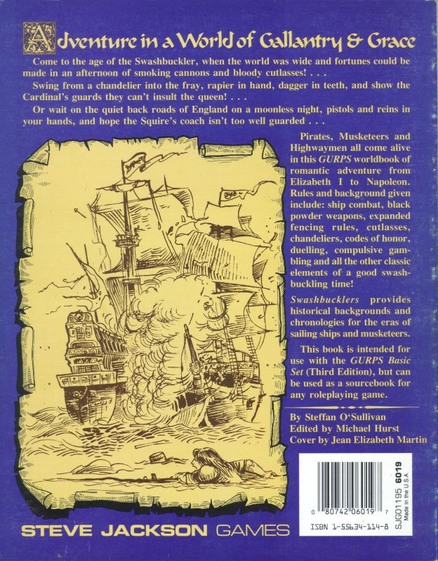 GURPS Swashbucklers, First Edition (Back)