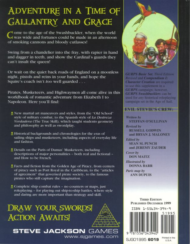 GURPS Swashbucklers, Third Edition (Back)