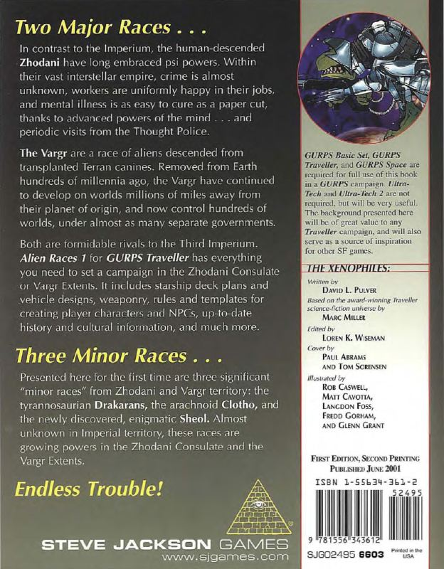 GURPS Traveller: Alien Races 1 (Back)