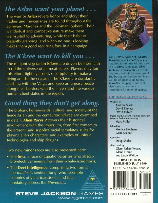 GURPS Traveller: Alien Races 2 (Back)
