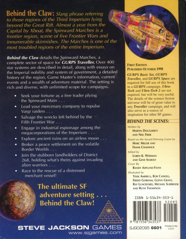 GURPS Traveller: Behind the Claw (Back)