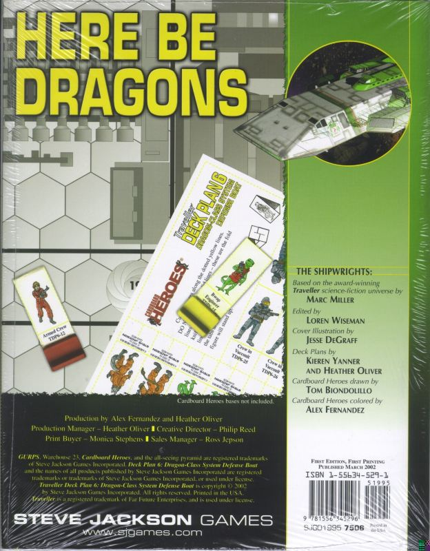 GURPS Traveller Deck Plan 6: Dragon-Class System Defense Boat (Back)