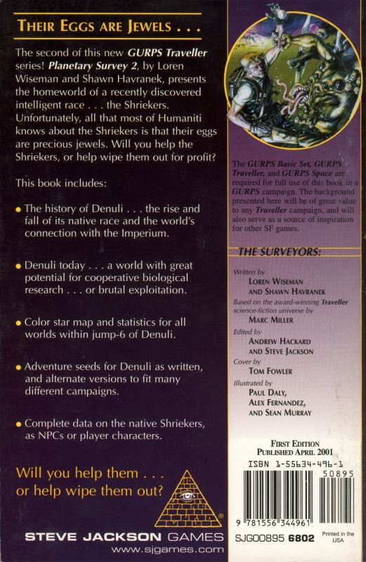 GURPS Traveller: Planetary Survey 2 – Denuli (Back)