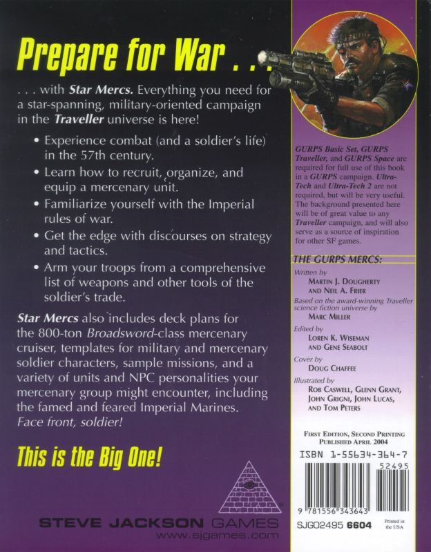 GURPS Traveller: Star Mercs (Back)