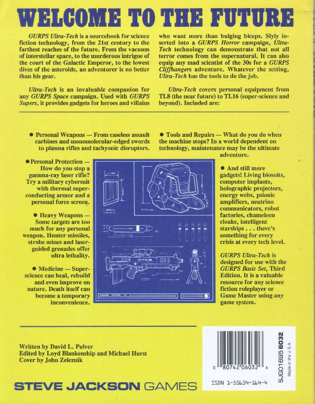 GURPS Ultra-Tech, First Edition (Back)