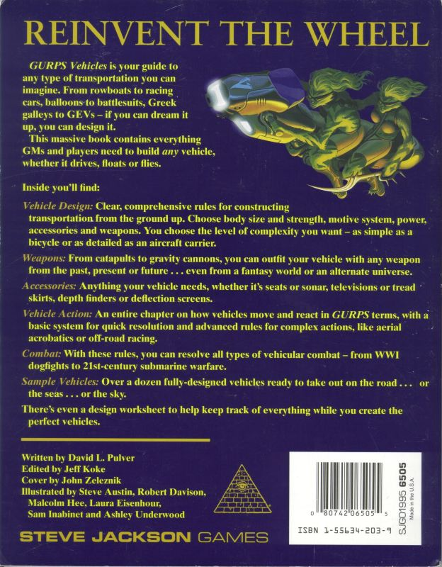 GURPS Vehicles, First Edition (Back)