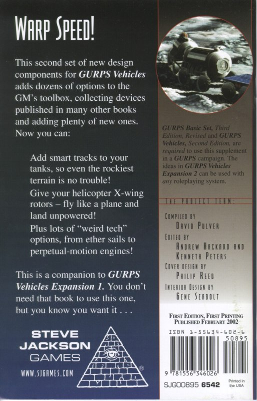 GURPS Vehicles Expansion 2 (Back)