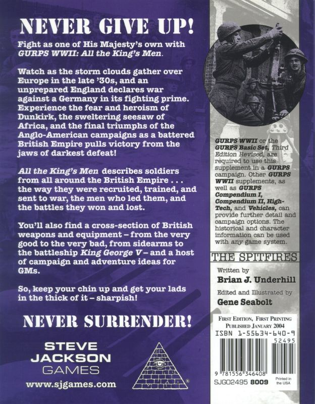 GURPS WWII: All the King's Men (Back)