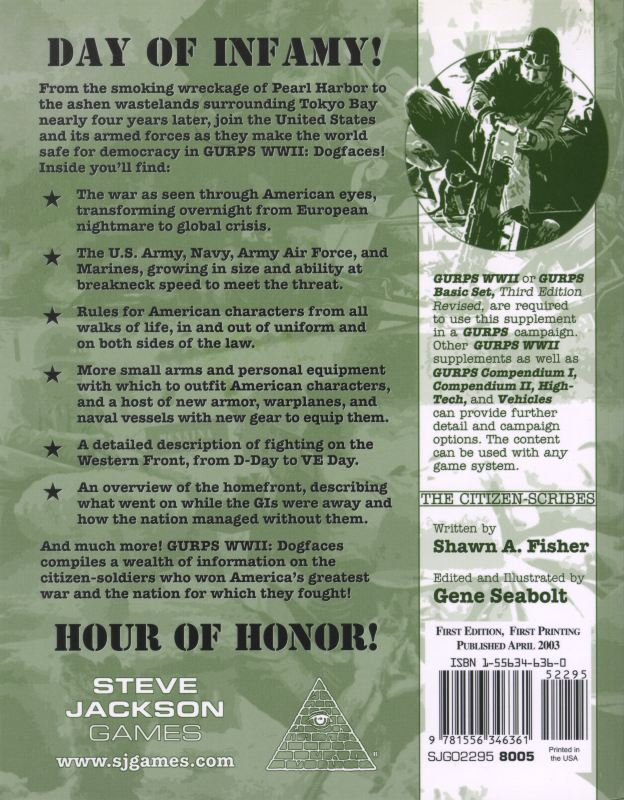 GURPS WWII: Dogfaces (Back)