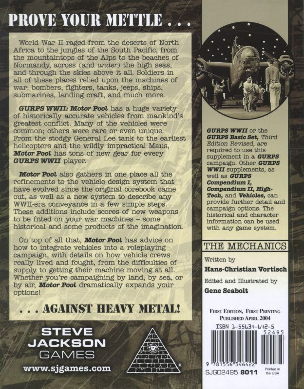 GURPS WWII: Motor Pool (Back)