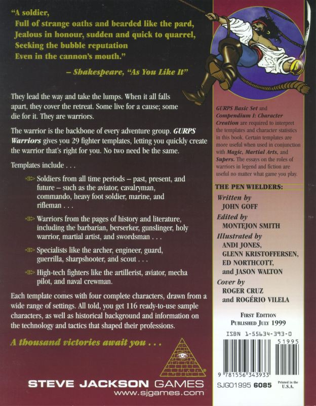 GURPS Warriors (Back)