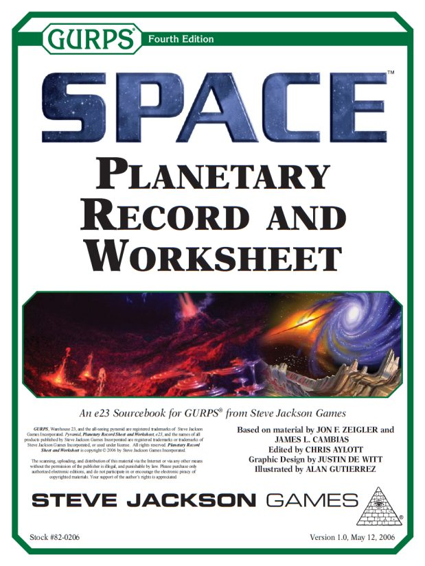 GURPS Space: Planetary Records Sheets